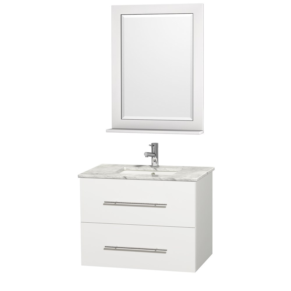 "Centra 30"" Single Bathroom Vanity for Undermount Sinks by Wyndham Collection - Matte Whitenohtin Sale $824.00 SKU: WC-WHE009-30-SGL-VAN-WHT- :"