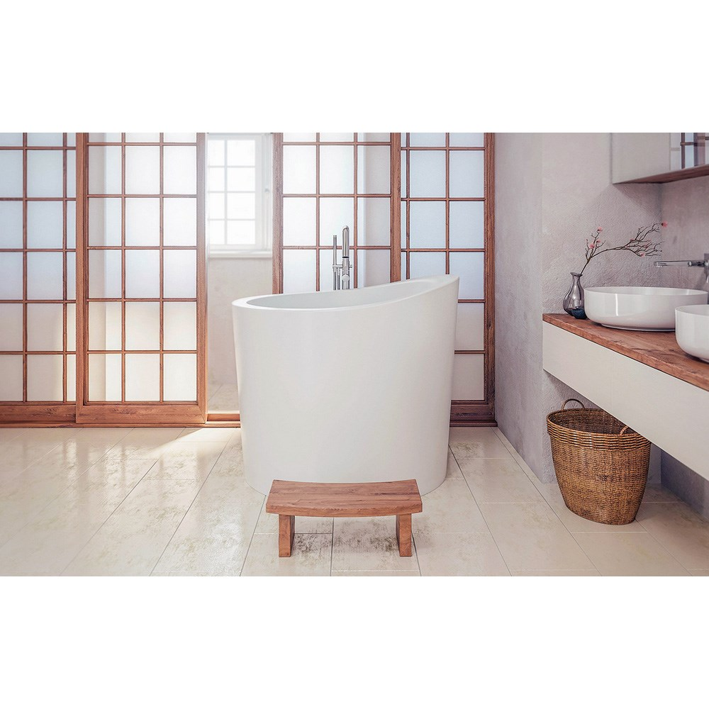 Aquatica True Ofuro Mini Freestanding Stone Japanese Soaking Bathtub
