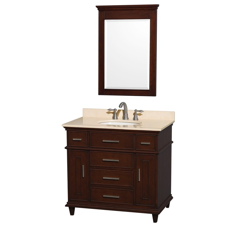 "Berkeley 36"" Single Bathroom Vanity by Wyndham Collection - Dark Chestnut WC-1717-36-SGL-CDK"