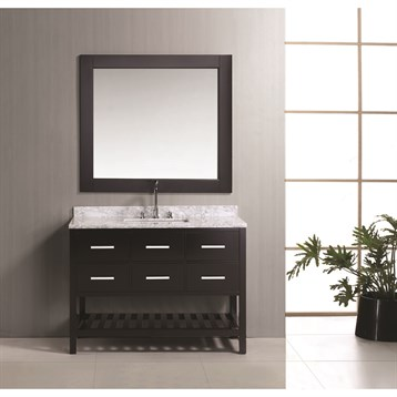 "Design Element London 48"" Vanity Set with Open Bottom, Espresso DEC077D-48 by Design Element"