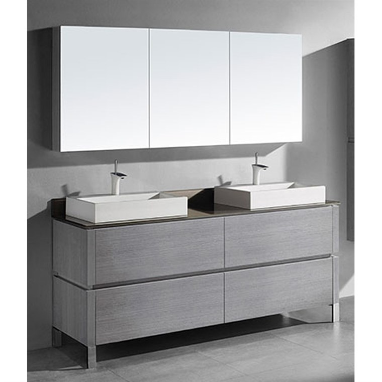 "Madeli Metro 72"" Double Bathroom Vanity for Glass Counter and Porcelain Basin - Ash Grey B600-72D-001-AG-GLASS"