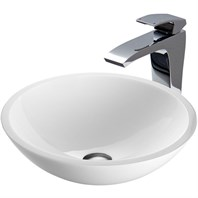 VIGO Flat Edged White Phoenix Stone Vessel Sink and Blackstonian Faucet Set VGT352-