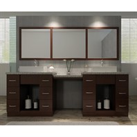 "Ariel Roosevelt 97"" Double Sink Vanity Set with Tiger Skin White Granite Countertop - Walnut J097D-WLNT"