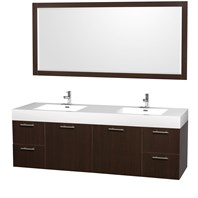 "Amare 72"" Wall-Mounted Double Bathroom Vanity Set with Integrated Sinks by Wyndham Collection - Espresso WC-R4100-72-ESP-DBL-RESIN"