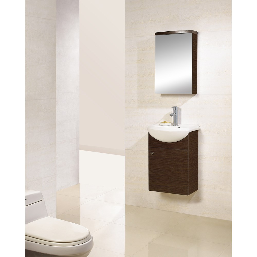 "Bath Authority DreamLine 17"" Wall-Mounted Modern Bathroom Vanity - w/Counter and Medicine Cabinet - Wenge"