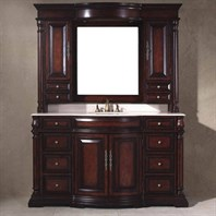 "James Martin 62"" Dover Single Vanity and Mirror Hutch - Dark Cherry 206-001-DA-5122"