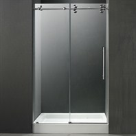 "VIGO 48-inch Frameless Shower Door 3/8"" Clear/Stainless Steel Hardware with White Base - Center Drain VG6041STCL48WM"