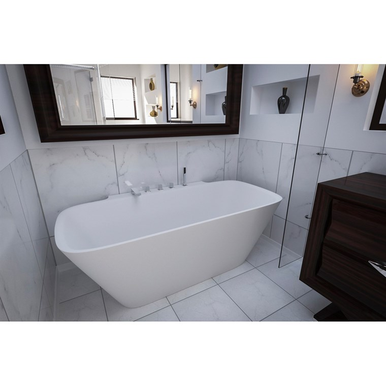 Aquatica Arabella-Wall Back To Wall Solid Surface Bathtub - Matte White Aquatica Arab-Wall