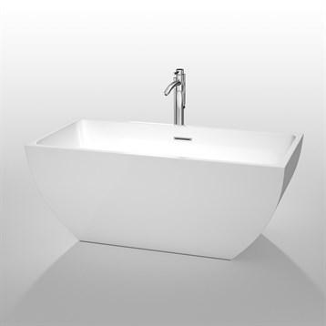 """Rachel 59"""" Soaking Bathtub by Wyndham Collection, White WC-BTK1505-59 by Wyndham Collection®"""