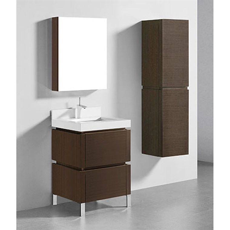 "Madeli Metro 24"" Bathroom Vanity for Quartzstone Top - Walnut B600-24-001-WA-QUARTZ"