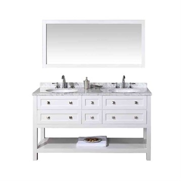 "Stufurhome Marla 60"" Double Sink Bathroom Vanity with Mirror, White HD-6868-60-CR by Stufurhome"