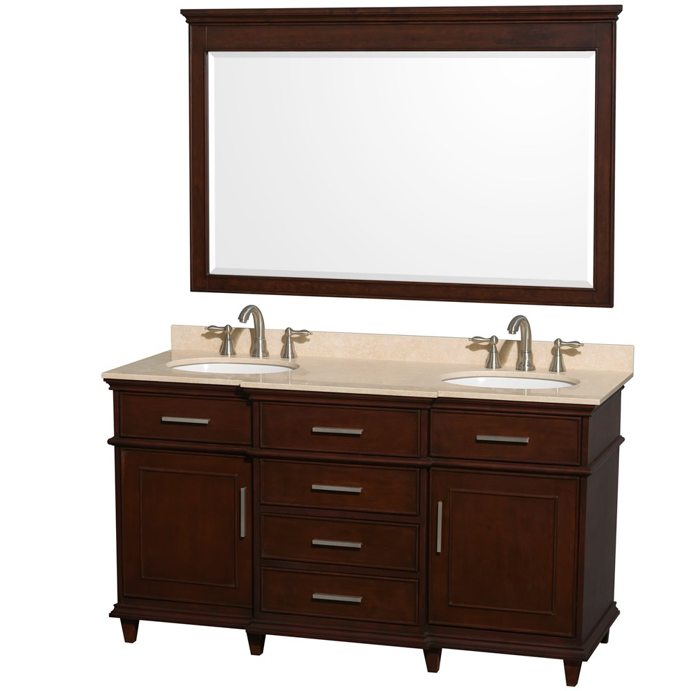 "Berkeley 60"" Double Bathroom Vanity by Wyndham Collection - Dark Chestnutnohtin Sale $1249.00 SKU: WC-1717-60-DBL-CDK :"