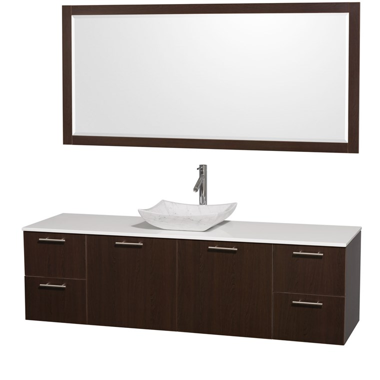 "Amare 72"" Wall-Mounted Single Bathroom Vanity Set with Vessel Sink by Wyndham Collection - Espresso WC-R4100-72-ESP-VAN-SGL"