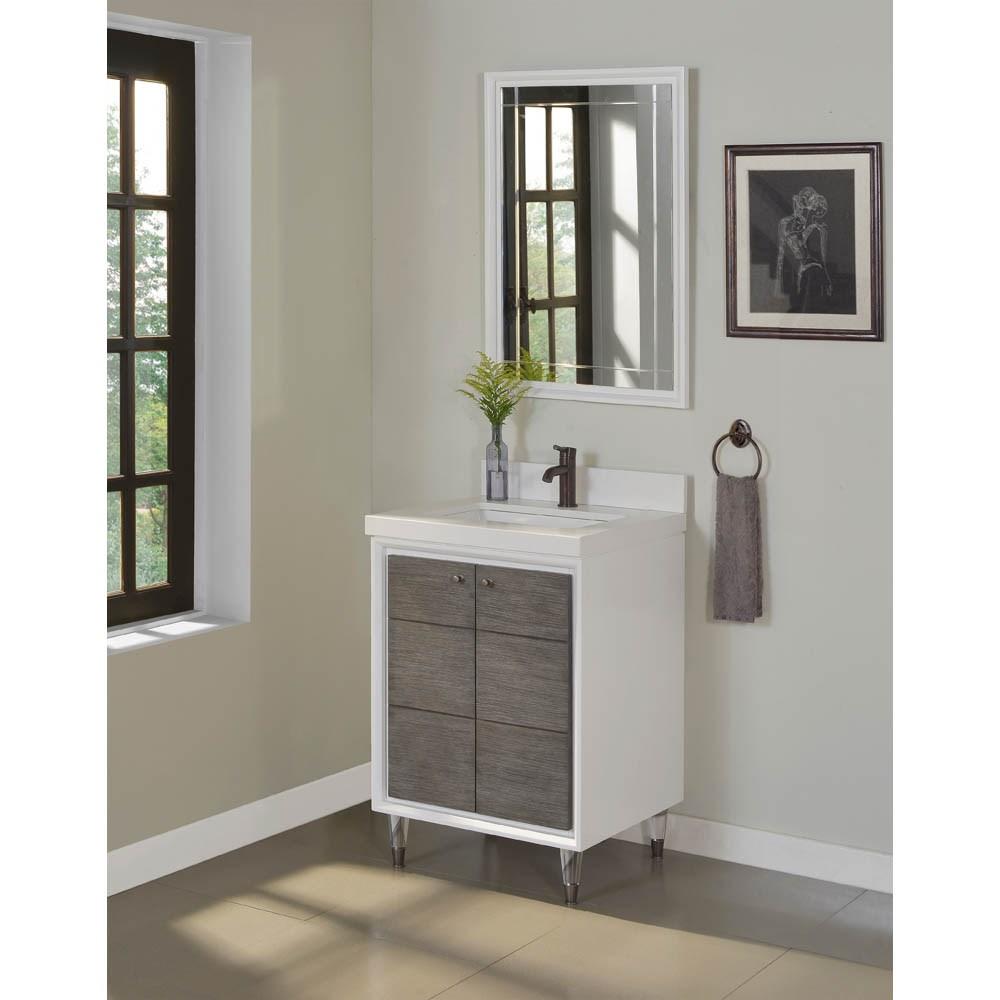 "Fairmont Designs Park Central 24"" Vanity - Glossy White / Silvered Oaknohtin Sale $1311.00 SKU: 1531-V24 :"