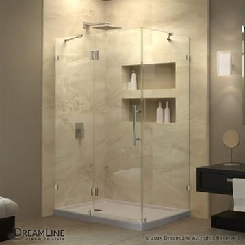 "Bath Authority DreamLine QuatraLux Frameless Hinged Shower Enclosure, 32-1/4"" by 46-5/16"" SHEN-1332460 by Bath Authority DreamLine"