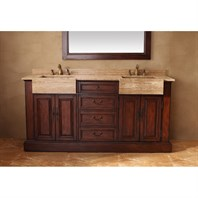 "James Martin 72"" Boston Double Vanity with Travertine Top - Cherry 206-001-5525"