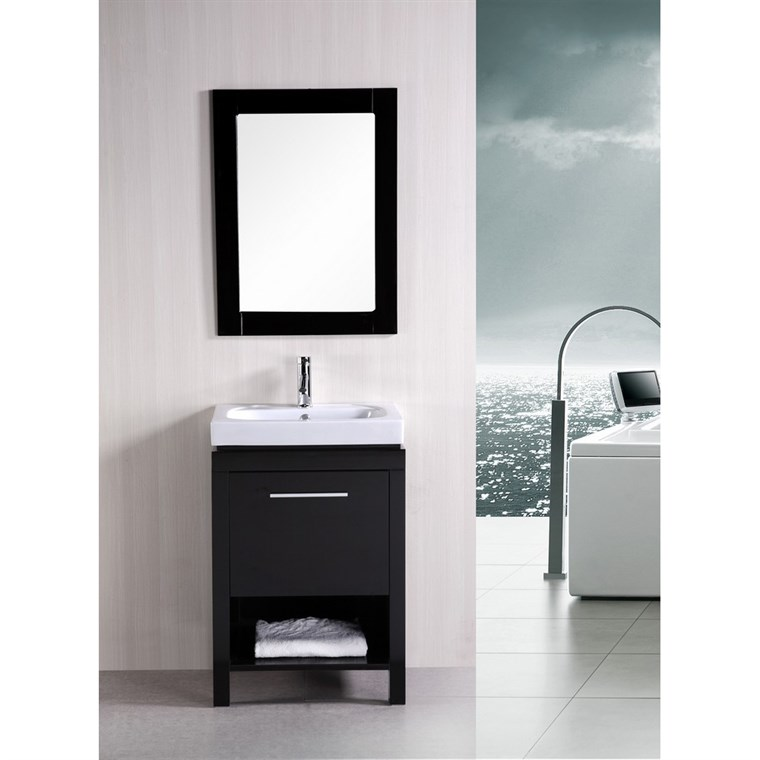 "Design Element New York 24"" Contemporary Bathroom Vanity - Espresso DEC091A"