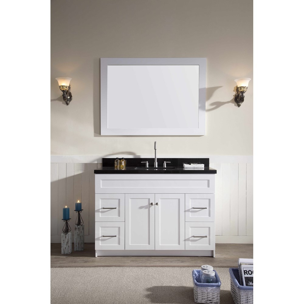 "Ariel Hamlet 49"" Single Sink Vanity Set with Absolute Black Granite Countertop in White F049S-AB-WHT"
