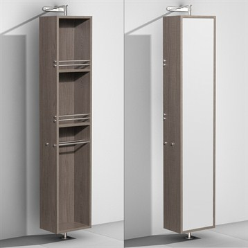 Amare Rotating Floor Cabinet with Mirror by Wyndham Collection, Gray Oak WC-RYV202-GROAK by Wyndham Collection®