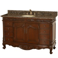 "Stanton 56"" Antique Bathroom Vanity - Dark Cherry w/ Baltic Brown Granite Counter"