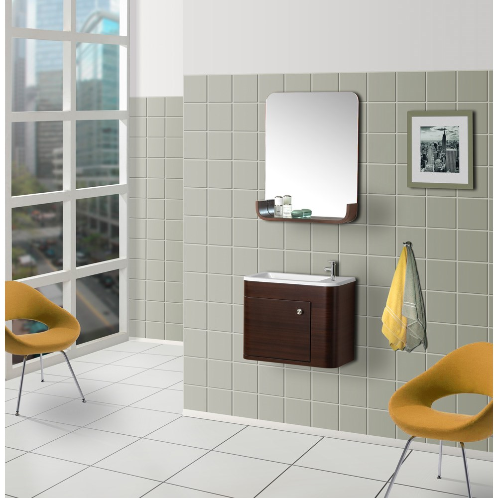 Bath Authority DreamLine Wall-Mounted Modern Bathroom Vanity with Porcelain Sink and Mirror Complete Bath Vanity Set - Walnut Home Coupons