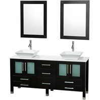 "Ella 63"" Double Bathroom Vanity Set - Espresso with White Stone Counter OM-2101-63-ESP-WHT"