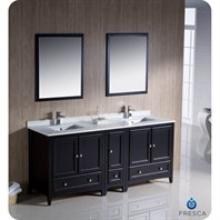 "Fresca Oxford 72"" Traditional Double Sink Bathroom Vanity with Side Cabinet - Espresso FVN20-301230ES"