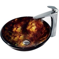 VIGO Brown and Gold Fusion Glass Vessel Sink and Erasma Faucet Set in Chrome VGT143