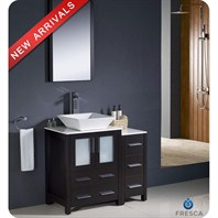 "Fresca Torino 36"" Espresso Modern Bathroom Vanity with Side Cabinet, Vessel Sink, and Mirror FVN62-2412ES-VSL"