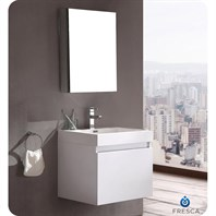 Fresca Nano White Modern Bathroom Vanity with Medicine Cabinet FVN8006WH