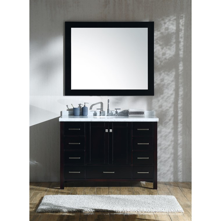 "Ariel Cambridge 49"" Single Sink Vanity Set with Carrara White Marble Countertop- Espresso A049S-ESP"