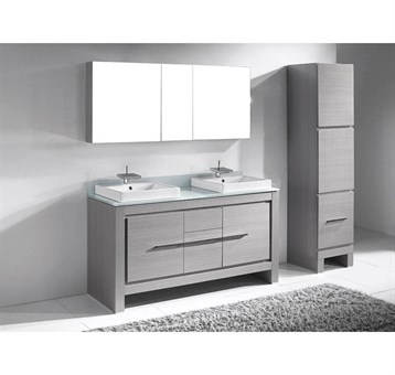 """Madeli Vicenza 60"""" Double Bathroom Vanity for Glass Counter and Porcelain Basins, Ash Grey B999-60CD-001-AG-GLASS by Madeli"""