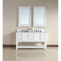 "James Martin 60"" South Hampton Double Vanity with Guangxi Marble Top - White 925-V60D-PWH-GWH"