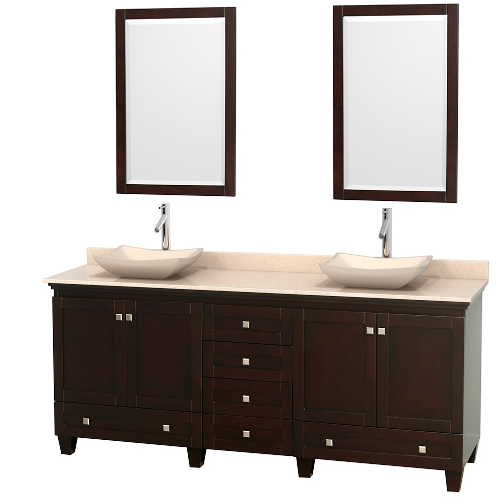 Acclaim 80 inch Double Bathroom Vanity for Vessel Sinks by Wyndham Collection Espresso