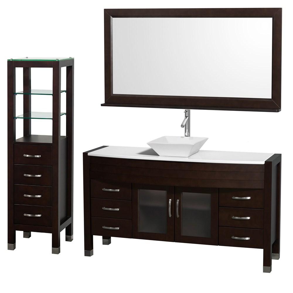 Daytona 60 Bathroom Vanity With Vessel Sink Mirror And Cabinet By Wyndham Collection Espresso