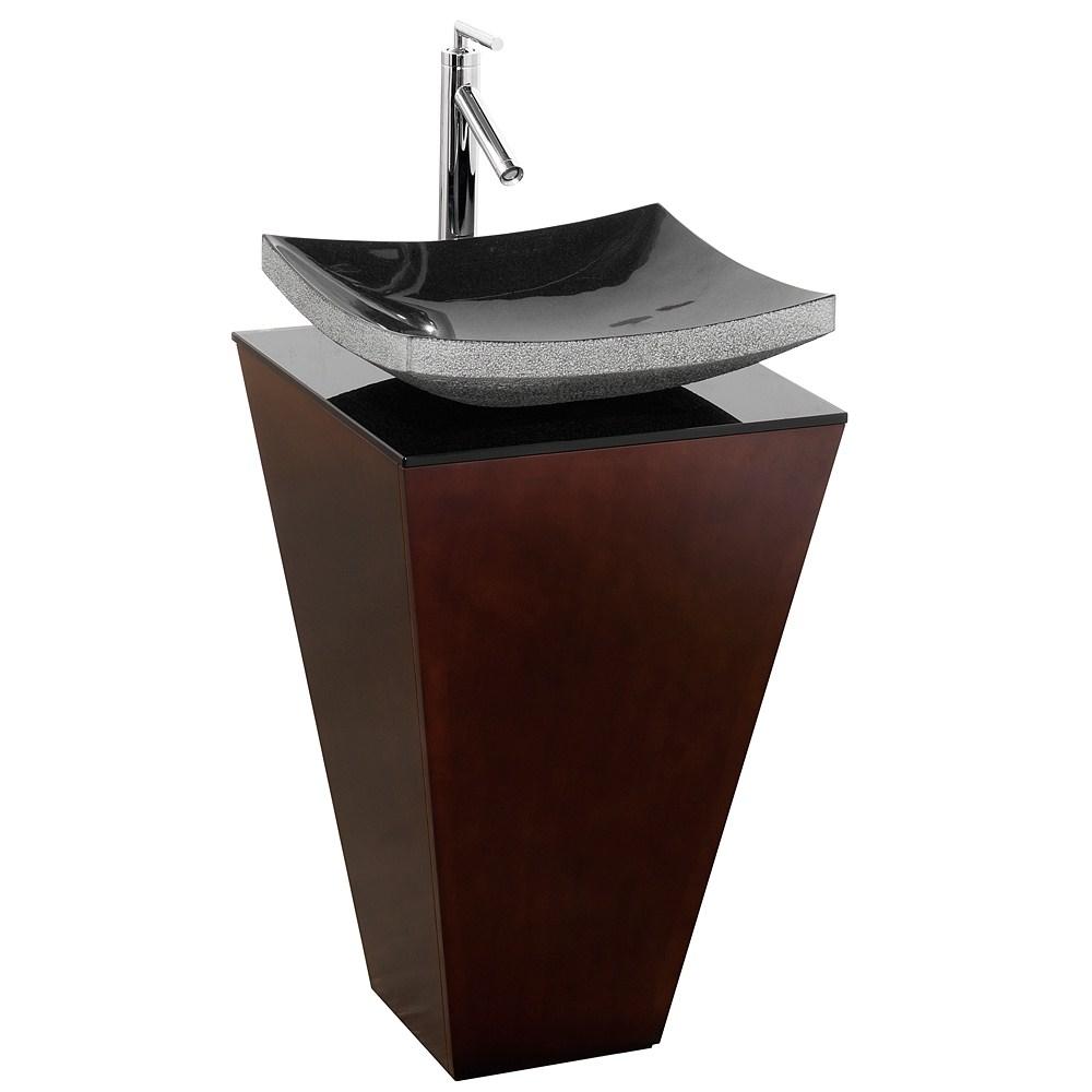 Esprit Bathroom Pedestal Vanity Set by Wyndham Collection - Espresso w/ Black Granite Sinknohtin