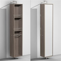 Amare Rotating Floor Cabinet with Mirror by Wyndham Collection, Gray Oak WC-RYV202-GROAK
