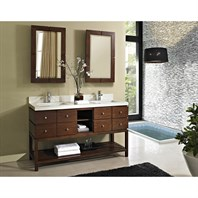 "Fairmont Designs Windwood 60"" Double Bowl Vanity - Natural Walnut 111-VH6021D"