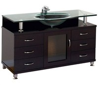 "Accara  55"" Bathroom Vanity with Drawers - Espresso w/ Clear or Frosted Glass Counter"