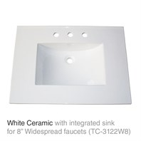 "31"" White Top with integrated sink - Ceramic (For 3-Hole Faucets) TC-3122W8"