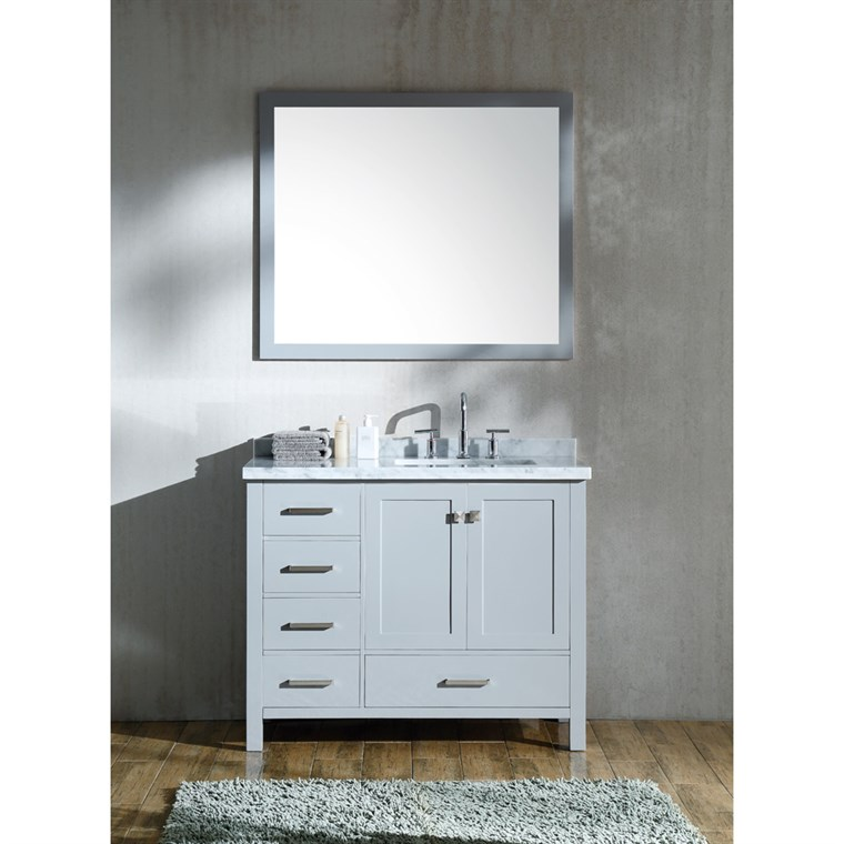 "Ariel Cambridge 43"" Single Sink Vanity Set with Right Offset Rectangle Sink and Carrara White Marble Countertop - Grey A043S-R-CWR-GRY"