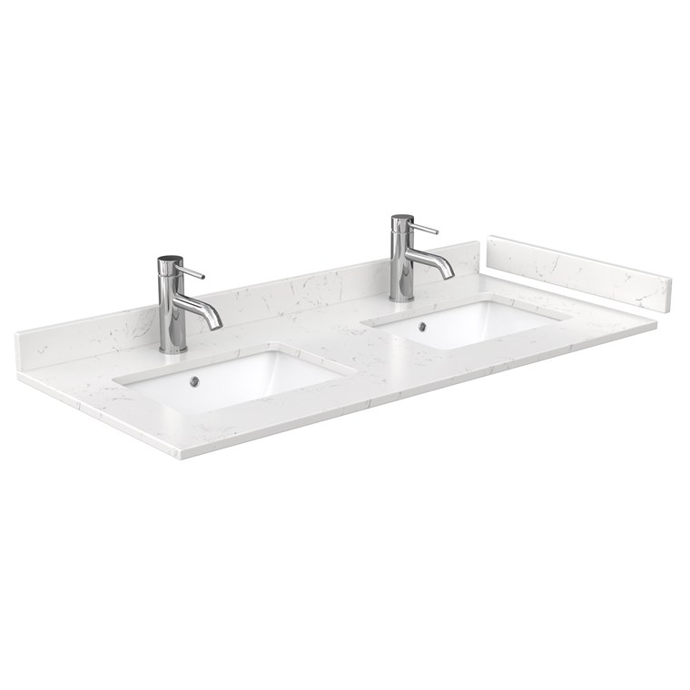 "48"" Double Countertop - Light-Vein Carrara Cultured Marble with Undermount Square Sinks - Include Backsplash and Sidesplash WC-VCA-48-DBL-TOP-UMSQ-CC2"