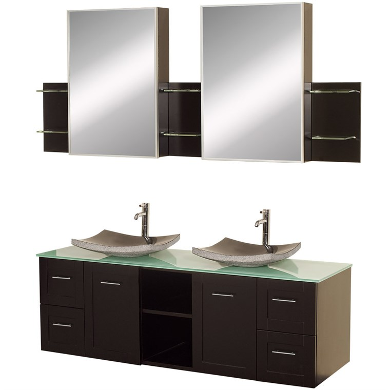 "Avara 60"" Wall-Mounted Double Bathroom Vanity Set by Wyndham Collection - Espresso WC-WHE007-SH-60-ESP-"