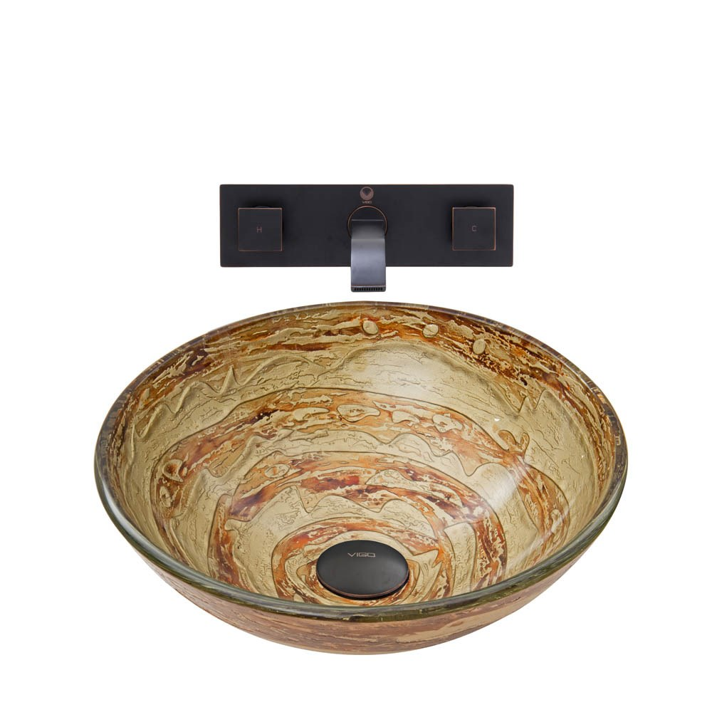 Vigo Mocha Swirl Glass Vessel Sink And Titus Wall Mount Faucet Set In An Antique Rubbed Bronze Finish