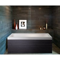 Pure 1D Back To Wall Solid Surface Bathtub with Dark Decorative Wooden Side Panels - Matte White and Dark Oak Aquatica Pure-1-Wht-DOak