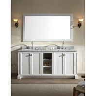 "Ariel Westwood 73"" Double Sink Vanity Set with Carrera White Marble Countertop - White C073D-WHT"