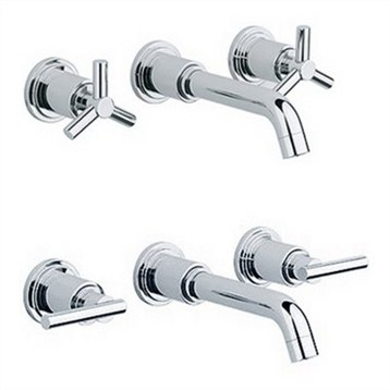 Grohe Atrio Wall Mount Vessel Faucet Trim   Starlight Chrome | Free  Shipping   Modern Bathroom