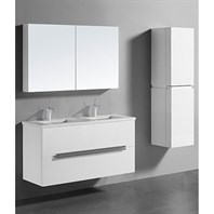 "Madeli Urban 48"" Double Bathroom Vanity for Quartzstone Top - Glossy White B300-48D-002-GW-QUARTZ"