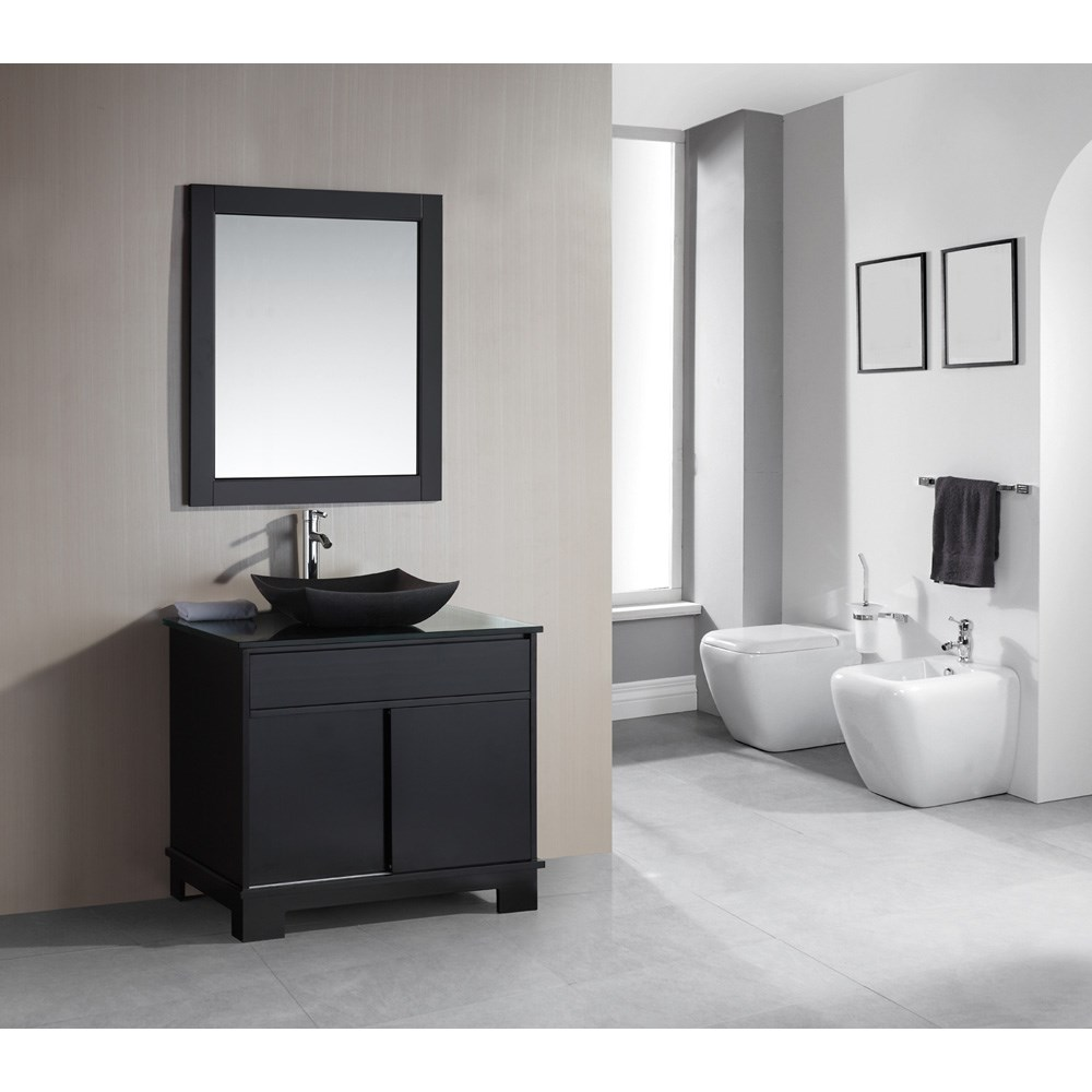 "Design Element Oasis 36"" Single Sink Vanity Set with Decorative Drawer - Espresso DEC105-36"
