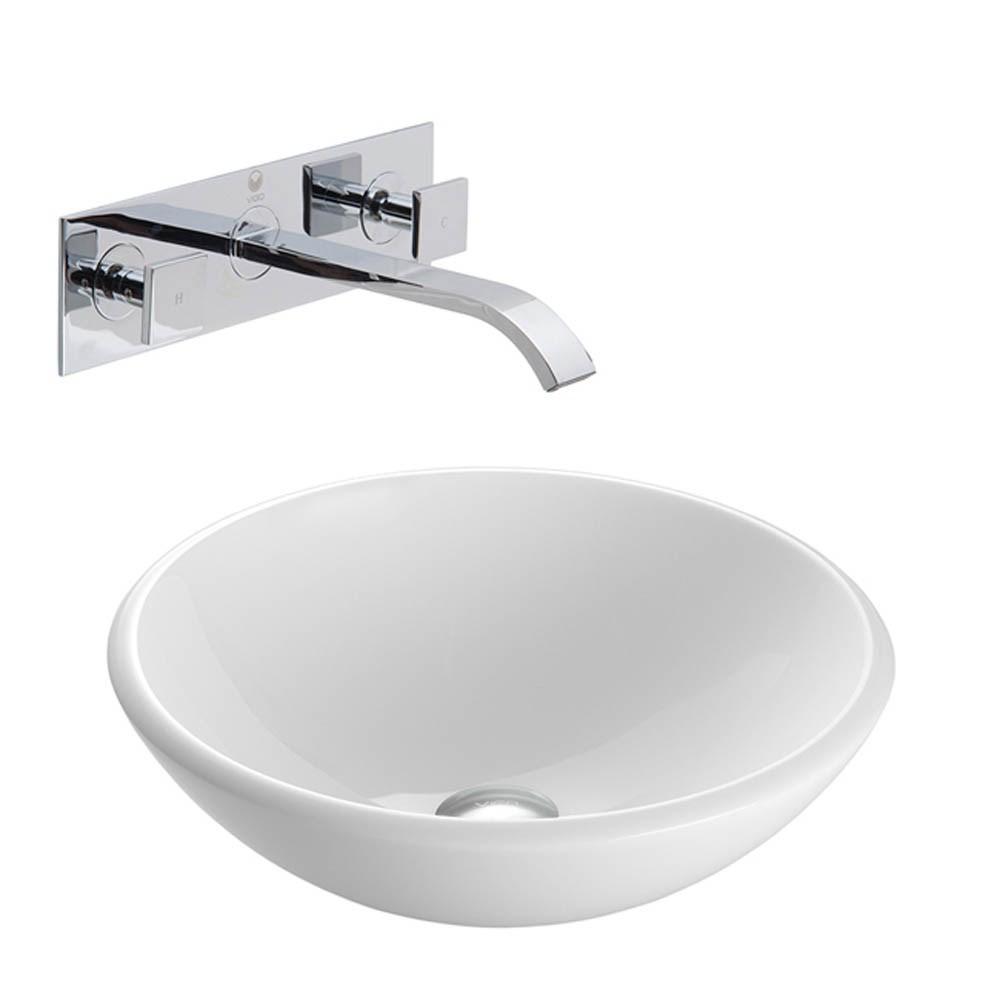 VIGO White Phoenix Stone Vessel Sink with Titus Wall Mount Faucet Setnohtin Sale $245.90 SKU: VGT215- :